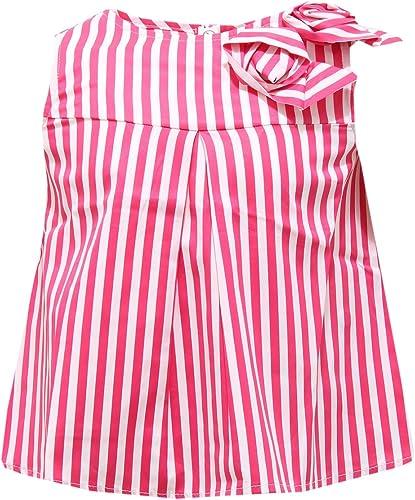 Simonetta 0478S Maglia Bimba Mini Canotta Bianco Fuxia Cotone t-Shirt Enfant