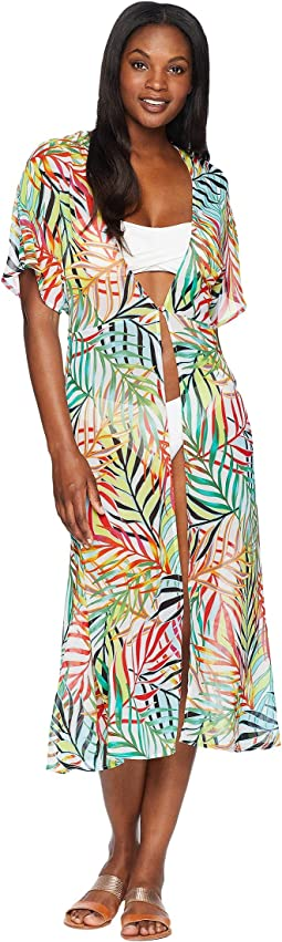 Exotic Palm Tie Front Slit Dress Cover-Up