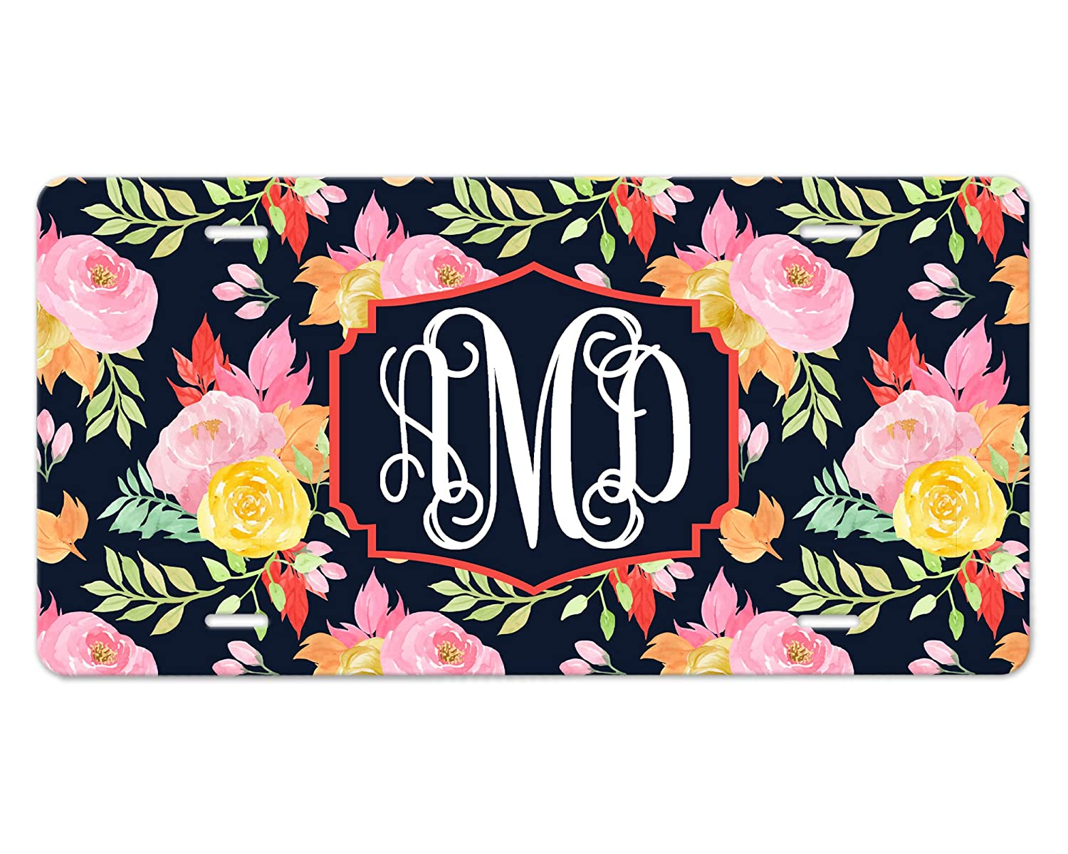 Add Your Own Monogram Surprise price License Plate Desig with Flowers Super-cheap Navy Blue