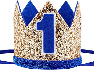 Glitter Baby Boy First Birthday Crown Number 1 Headband Little Prince Princess Cake Smash Photo Prop