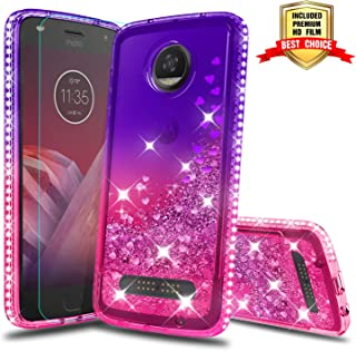 Moto Z2 Play Case, Moto Z2 Play Girly Cases with HD Screen Protector, Atump Fun Glitter Liquid Diamond Cute TPU Silicone Protective Phone Cover Case for Moto Z2 Play Purple/Rose