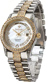 Yves Camani Women's Mother of Pearl Watch with Stainless Steel Mesh Band and Day/Date Display