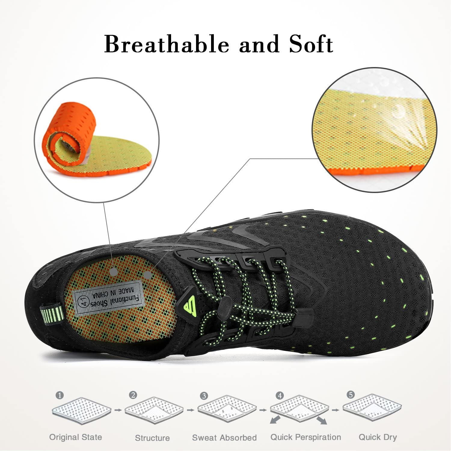 SAGUARO Water Shoes Mens Womens Unisex Slip On Skin Shoes Barefoot Quick Dry Sports Aqua Shoes for Beach Swim Snorkeling Surfing Diving Yoga Exercise