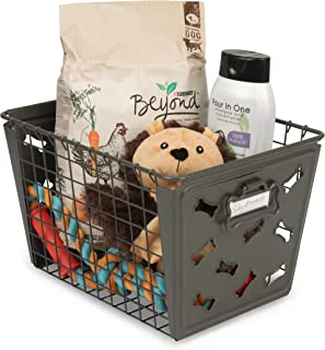 Takyl Home Bone Shaped Medium Pet Toy Storage Basket With Handle For Dog & Puppy Toys, Accessories, Treats, Food, Grooming, Medical & Dental Supply Items Organizer Tote Bin, Dark Gray
