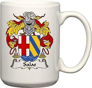 Salas Coat of Arms/Salas Family Crest 15 Oz Ceramic Coffee/Cocoa Mug by Carpe Diem Designs, Made in the U.S.A.