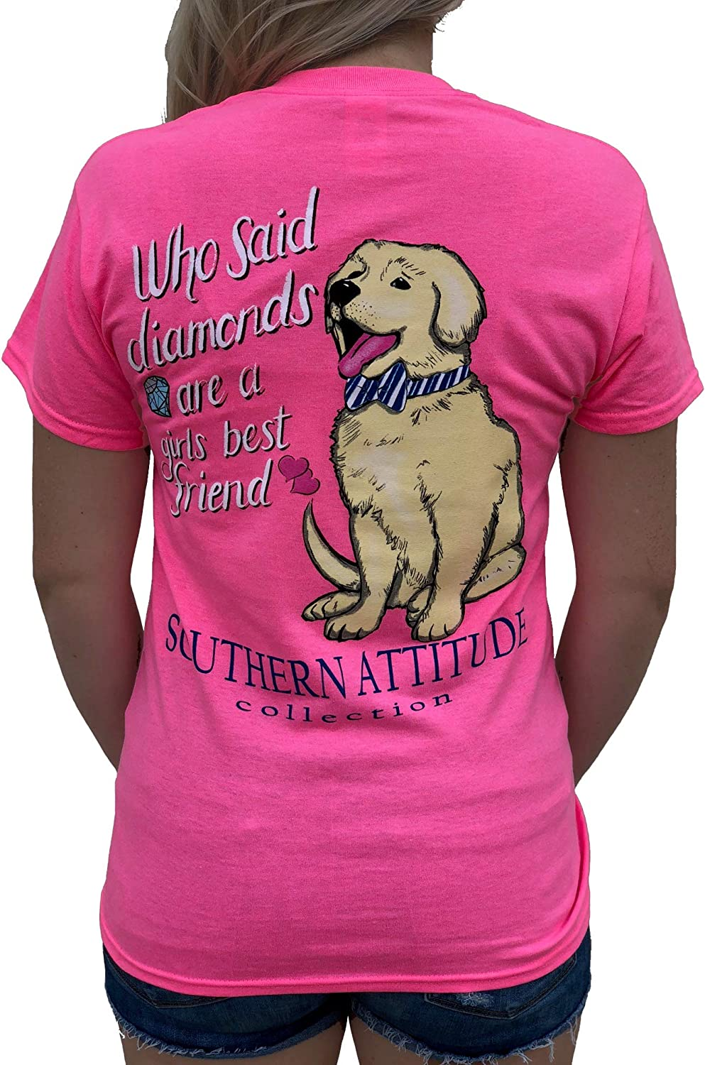 Southern Attitude Who Said Diamonds are a Girls Best Friend Dog Pink Women's Short Sleeve T-Shirt