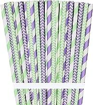 شفاطات ورقية بلون اللافندر والنعناع والليلاك - خطوط متعرجة - 100 عبوة - خارج الصندوق العلامة التجارية الورقية