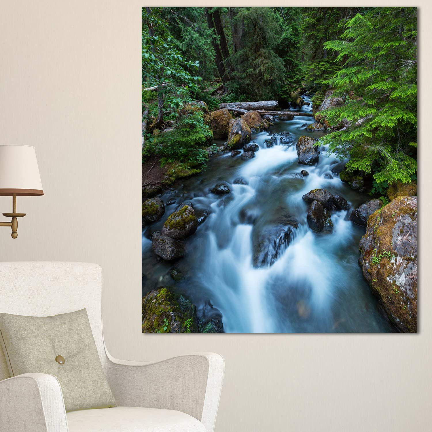 Amazon Com Design Art Mt12313 30 40 Rushing Water In Forest Creek Extra Large Landscape Glossy Metal Wall Art 30x40 Green 30x40 Home Kitchen