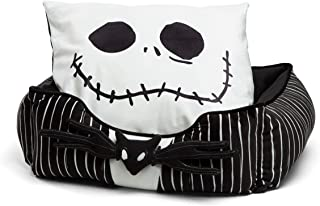 Nightmare Before Christmas Jack Skellington Bolstered Corded Cuddler Dog/Cat Bed with Removable Toy Bat, Machine Washable
