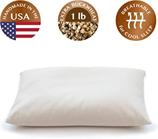 "ComfyComfy Buckwheat Hull Pillow, Traditional Size (14"" x 21""), with Extra 1 lb of Buckwheat Hulls for Customization, Breathable for Cool Sleep, USA Grown Buckwheat and Durable Cotton Twill"