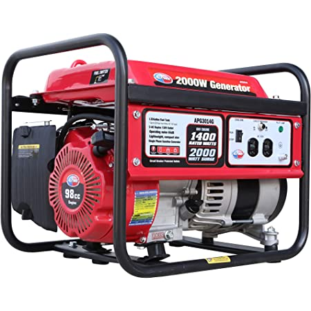 All Power America APG3014G 2000 Watt Portable Generator, Gas Powered for Home Back Up, Hurricane Recovery, Black/Red