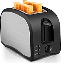 2 Slice Toaster CUSINAID Black Wide Slot Toaster 2 Slice Best Rated Prime with Pop Up Reheat Defrost Functions