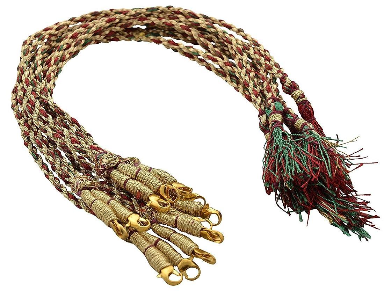 GOELX Designer Red,Green & Gold Necklace Back Rope/Dori