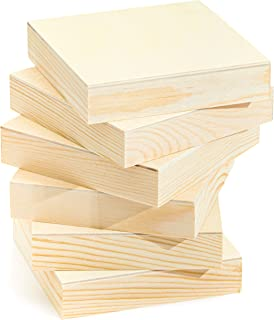 Natural Unfinished Wooden Paint Panel Boards (4 x 4 in, 6 Pack)
