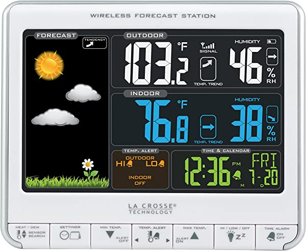 La Crosse Technology 308 1412S Color LCD Wireless Weather Station With USB Charging Port And Customizable Temperature Alerts