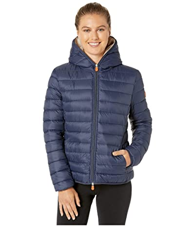 Save the Duck Giga 9 Hoodie Puffer Jacket with Sherpa Lining (Navy Blue) Women