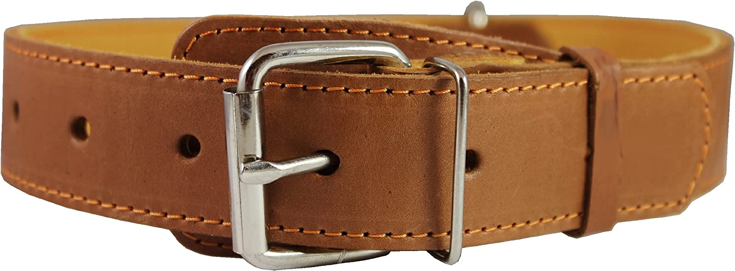 Genuine Leather Collar for Large and XLarge Dogs 20 25  Neck Size, 1.5  Wide, Brown.