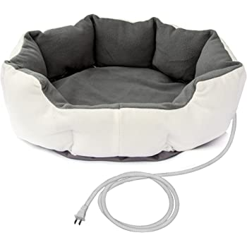ALEKO PHBED17S Electric Thermo-Pad Heated Pet Bed for Dogs and Cats 19 x 19 x 7 Inches Gray and White
