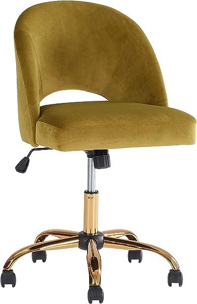 Stylish Armless Velvet Modern Swivel Desk Office Chair Golden Palm