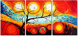 FLY SPRAY Orange Colorful Oil Paintings Canvas Wall Art Tree Fire Sun Circle 3-Piece Hand Painted Panel Stretched Framed Ready Hang Landscape Tree Abstract Painting Living Room Home Decor