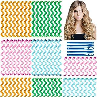 64Pcs Hair Curlers Spiral Hair Roller Curls No Heat Curlers Wave Formers Wave Heatless Hair Curlers Spiral Hair Curls Styl...