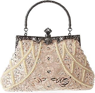 DA BODAN Damen Abendtasche Vintage Perlen Pailletten Perlen Clutch Handtasche Schultertasche Geldbörse für Hochzeit Braut ...