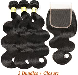 Mureen Brazilian Hair 3 Bundles with Closure Body Wave 4×4 Virgin Hair Lace Closure with Bundles Unprocessed Human Hair Extensions Weave Weft With Closure Natural Color (14 16 18 + 12, Middle Part)