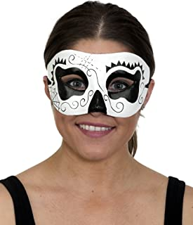 Unisex Day of Dead Mask Black White Paper Mache 27853