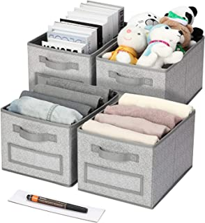 Artsdi Foldable Cube Storage Bin,4 Labels Window Cards & a Pen, Collapsible Fabric Storage Cubes Organizer with Handles, G...