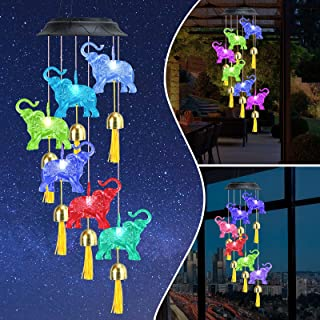 "Smalibal Solar Elephant Wind Chimes, Solar Waterproof Wind Chimes Automatic Color Changing Elephant Wind Chimes, 32"" Hangi..."