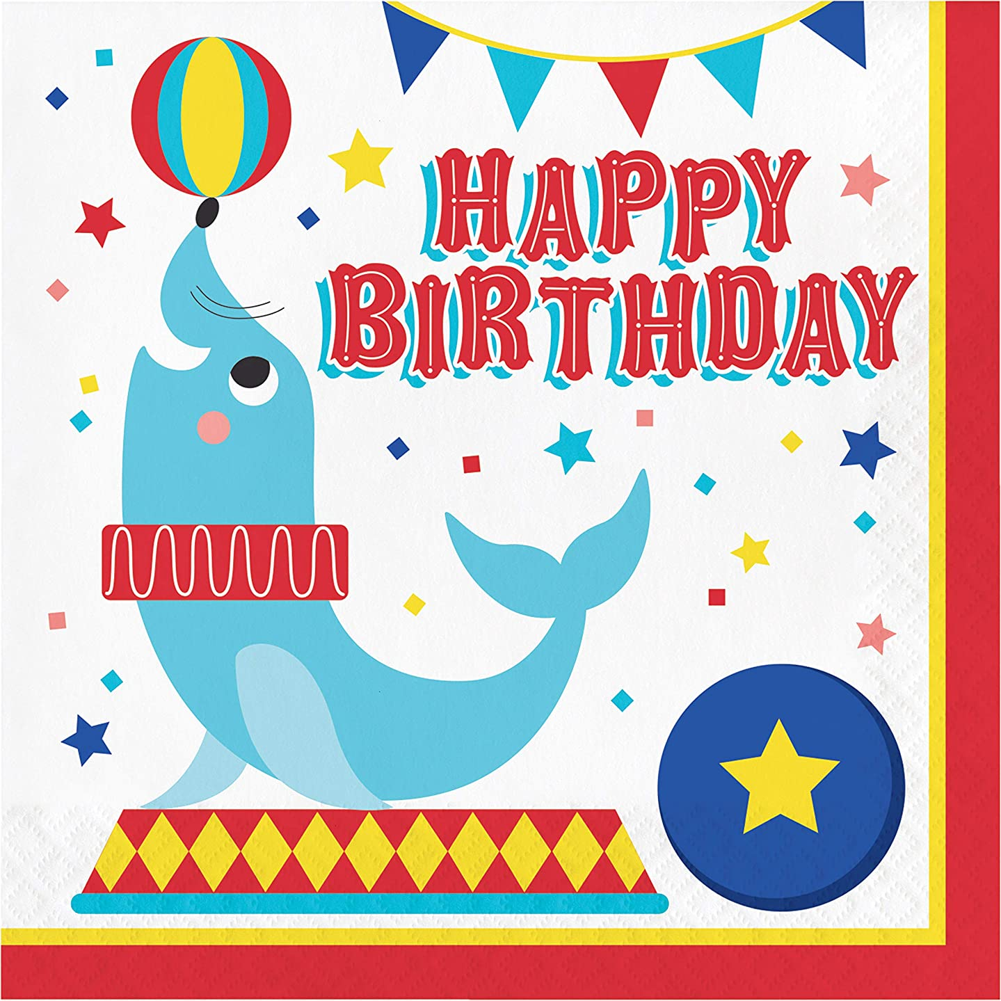 Circus Animals Happy Birthday Napkins, 16 ct