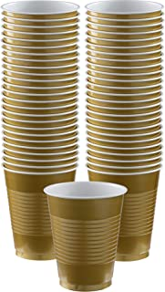 Amscan Big Party Pack Gold Plastic Cups   16 oz.   Pack of 50   Party Supply - AMI 436801.19