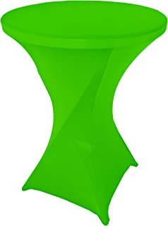 Goldstream Point Lime Green 32 Inch Round x 43 Inch Tall Spandex Cocktail Tablecloth Folding Cover Stretch