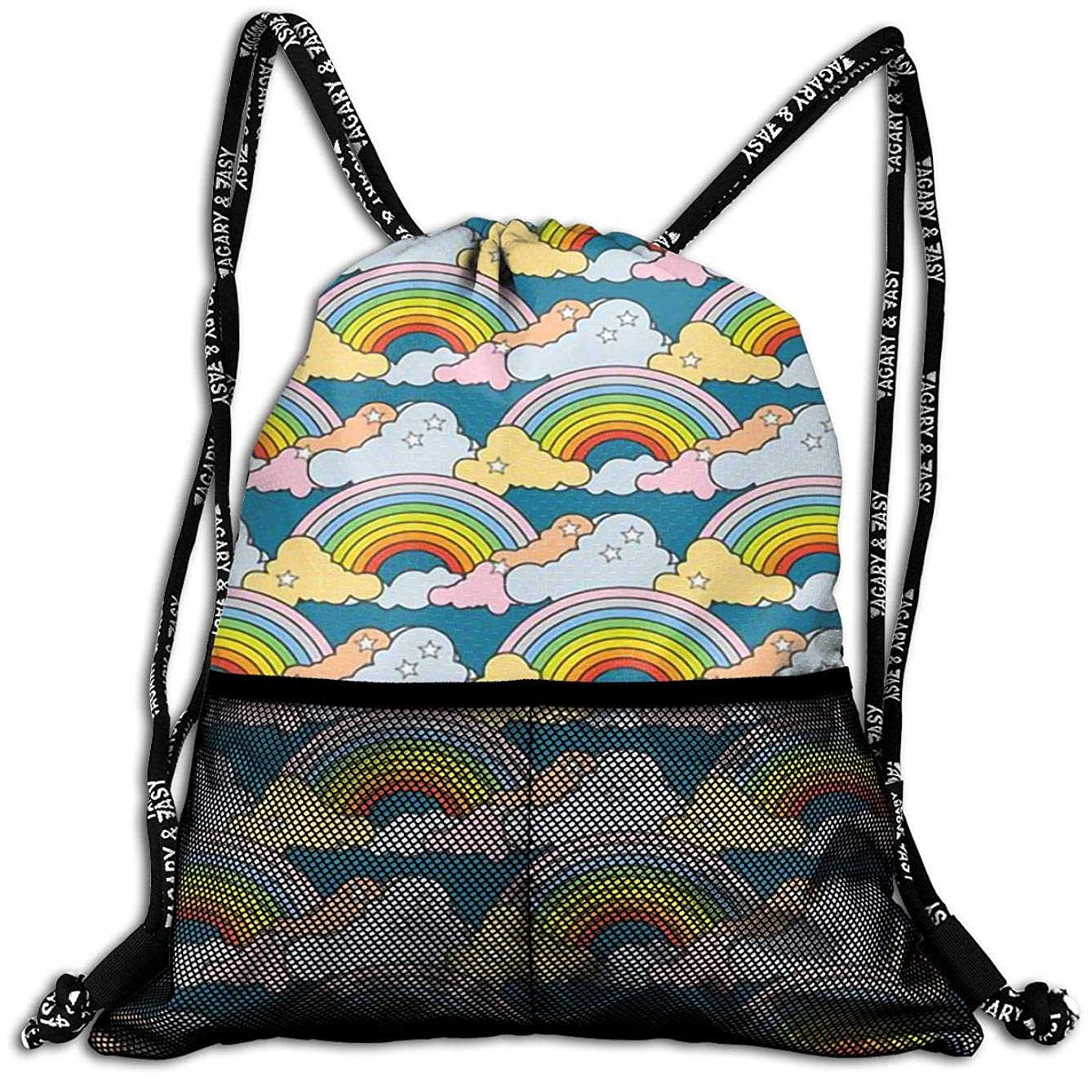 Men & Women Rainbow Clouds Drawstring Backpack Casual Cinch Sack Gymsack For Travel Yoga Dance