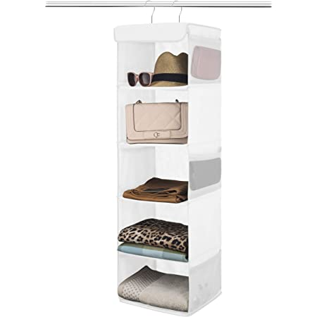 """Zober 5-Shelf Hanging Closet Organizer - 6 Side Mesh Pockets Breathable Polypropylene Hanging Shelves - for Clothes Storage and Accessories, 12"""" x 11 ½ """" x 42"""" (White)"""