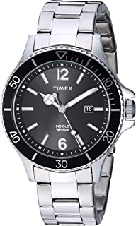 Timex Men's TW2R64600 Harborside Silver-Tone/Black Stainless Steel Bracelet Watch