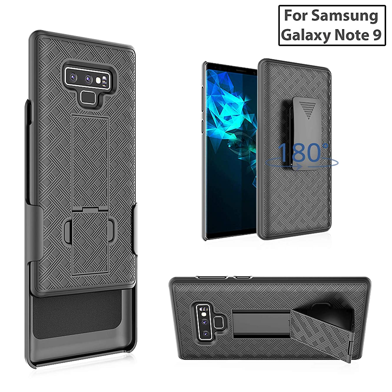 for Samsung Galaxy Note 9 SM-N960U [2018 Release] Rubberized Slim Armor Shell Swivel Hybrid Holster Defender Combo Case with Belt Clip & Kickstand for Note 9