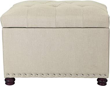 Decent Home 24 inch Fabric Storage Ottoman Lift Top Rectangular Foot Rest Stool with Nailheads for Bedroom Living Room (Tan)
