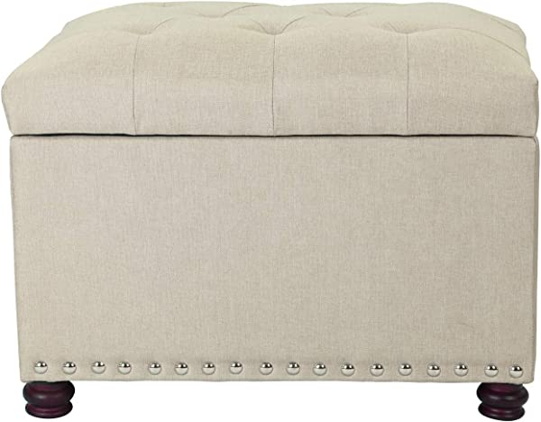 Decent Home Beige Rectangular Storage Ottoman 24x17 5x17 7 Inches