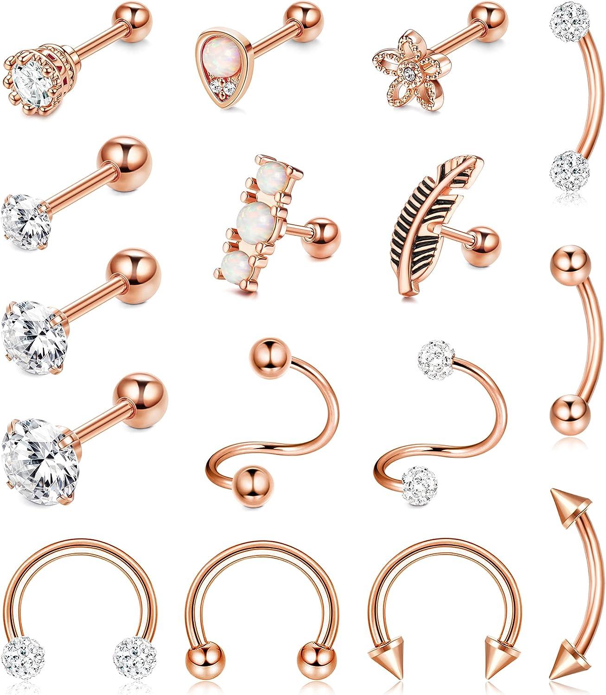 ORAZIO 16Pcs 18G Stainless Steel Cartilage Earrings Piercing Cubic Zirconia Stud Earrings for Men Women Forward Helix Tragus Earrings Conch Rook Piercings Cartilage Piercing Jewelry Set
