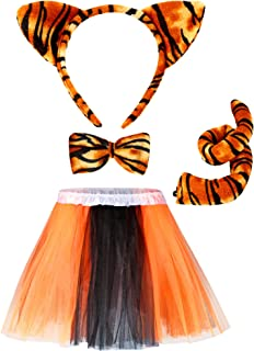 4 Pieces Tiger Costume Set Tutu Skirt Animal Fancy Costume Kit Accessories Tiger Ear Headband Tail Bow Tie Tutu Skirt for Kids Halloween Christmas Animal Cosplay Birthday Party Stage Performance