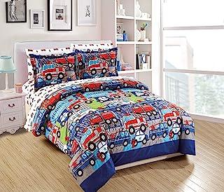Elegant Home Multicolor Heroes First Responders Police Cars Fire Trucks Ambulances Design 7 Piece Comforter Bedding Set fo...
