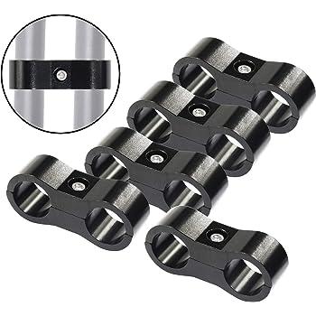 4PCS AN6 6AN AN-6 13.4MM Billet Aluminum Dual Oil Fuel Water Line Hose Separator Clamp Black