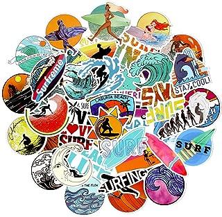Surfing Beach Stickers for Laptop Water Bottle Notebook Phone Suitcase Helmet Car Surfboard Teens, Trendy Aesthetic Cute Cool Vinyl Waterproof Stickers Pack 50PCS