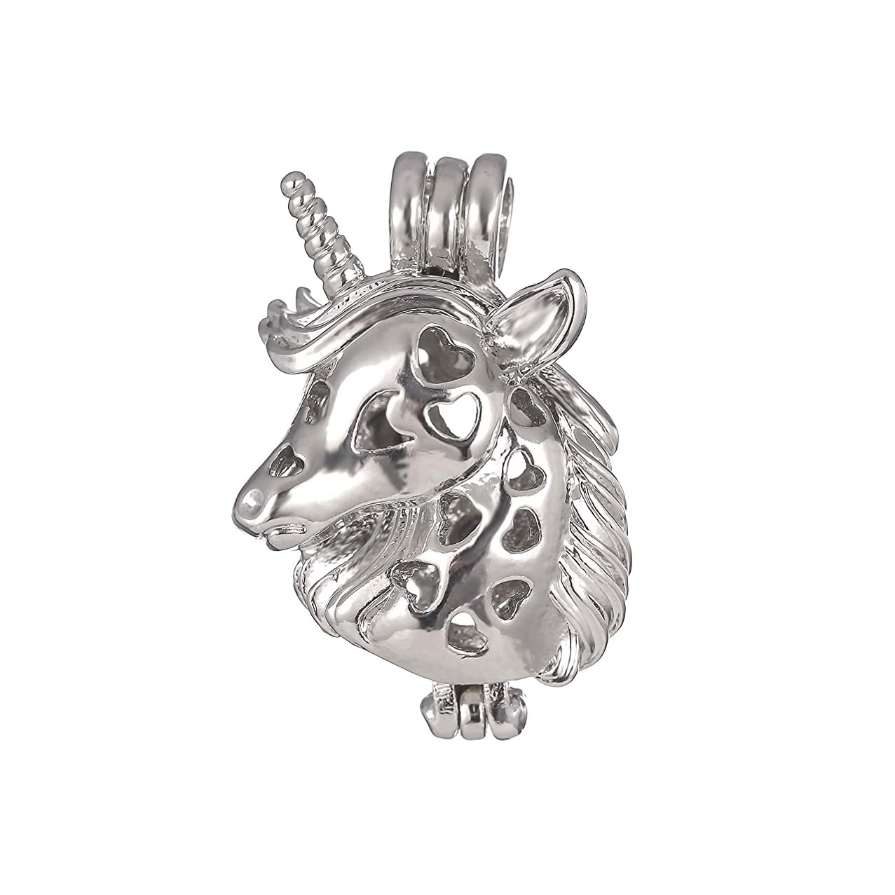 10pcs Unicorn Bright Silver Pearl Cage Beads Cage Locket Pendant Aromatherapy Pendant Jewelry Making-for Oyster Pearls, Essential Oil Diffuser, Fun Gifts (Unicorn)
