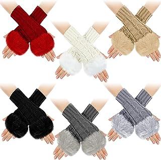 6 Pairs Fingerless Gloves Faux Fur Knit Mitten Gloves Middle Length Thumb Mittens Gloves Crochet Fingerless Gloves for Women