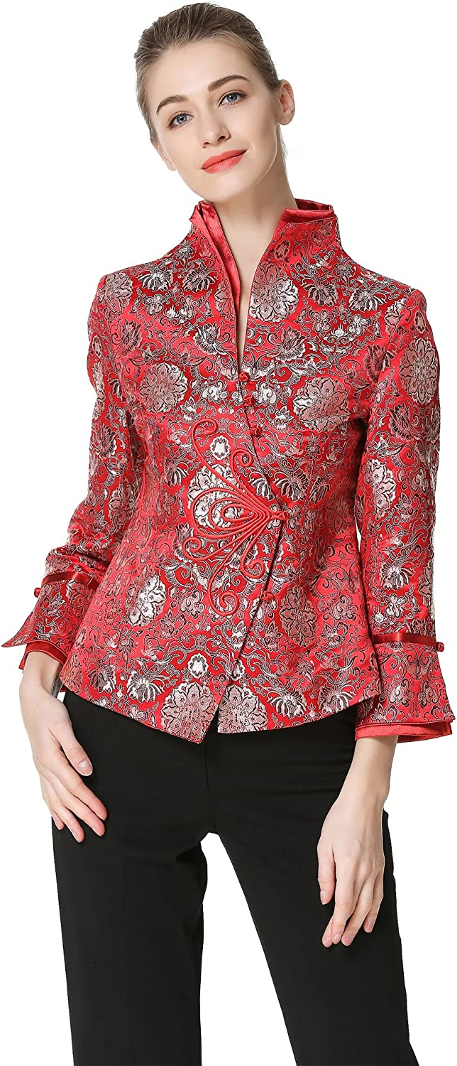 Bitablue Max 64% Cheap super special price OFF Women's Lotus Chinese Brocade Jacket in Red