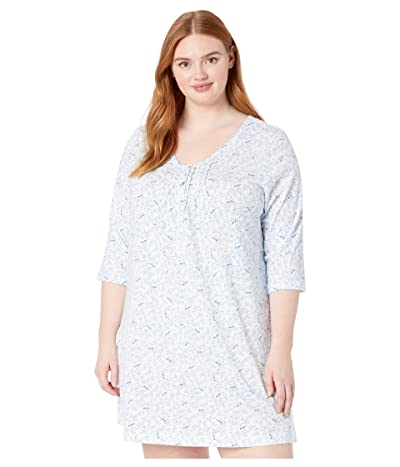 Carole Hochman Plus Size Soft Jersey 3/4 Sleeve Sleepshirt (Blue Birds) Women