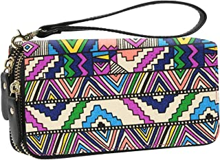 Women Wallet Large Capacity Zipper Purse Clutch Bag Bohemian Card Holder (Geometric)