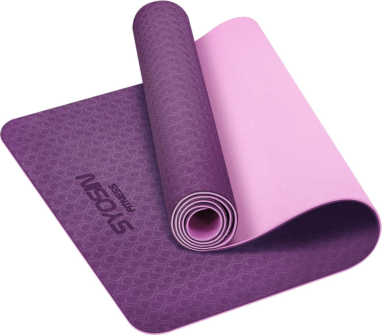 SYOSIN Yogamatte, TPE Gymnastikmatte rutschfest Fitnessmatte für ...